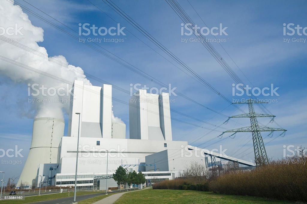 Lignite-fired power plant stock photo