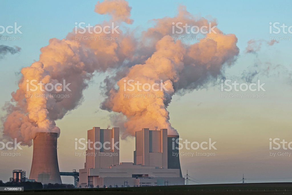 Lignite-fired power station stock photo