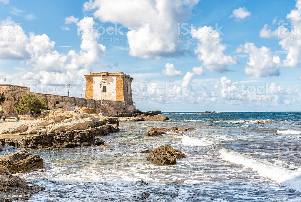Ligny Tower in Trapani, Italy. stock photo