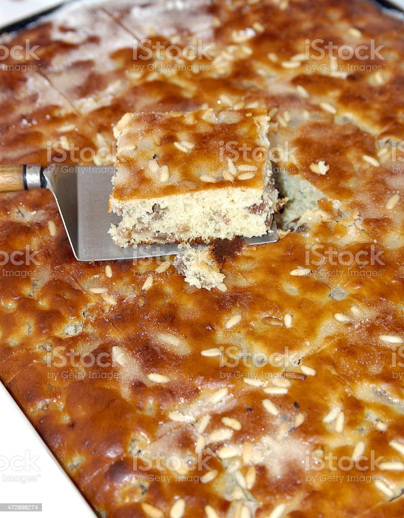 ligurian cake made with flour, pine nuts and sugar stock photo