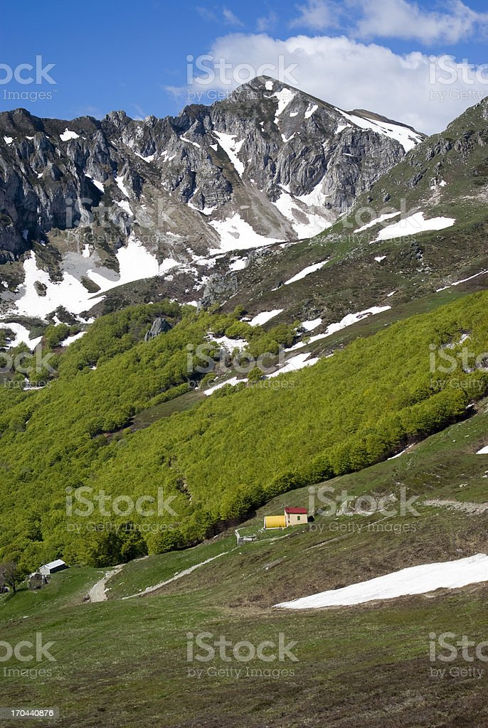 Ligurian mountains part of Italian Alps royalty-free stock photo