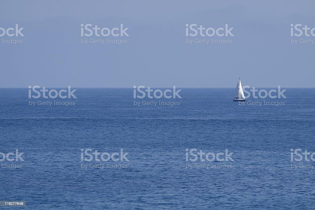 Ligurian Seascape, Sailing Boat - Liguria Italy stock photo