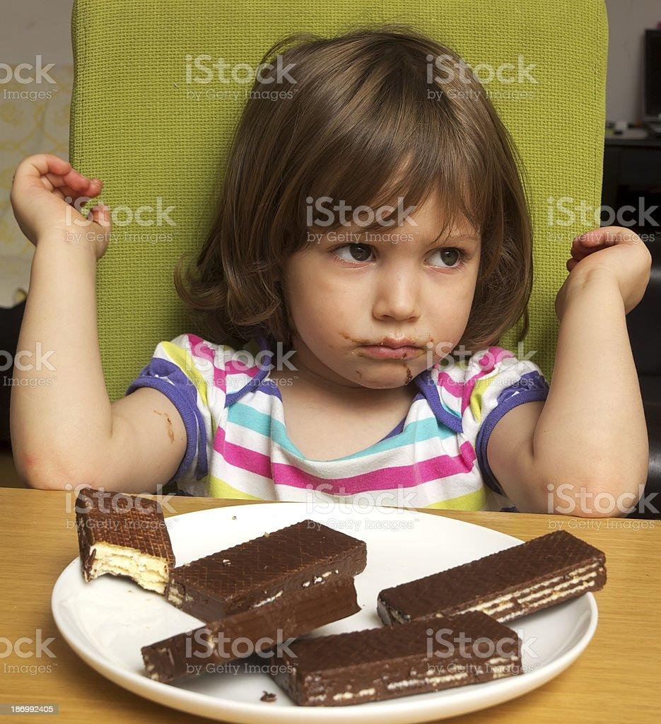 Liitle girl in bad mood stock photo