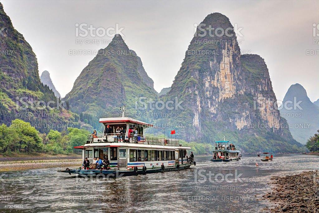 Lijiang River Cruise from Guilin to Yangshuo, Guangxi, southern China. stock photo