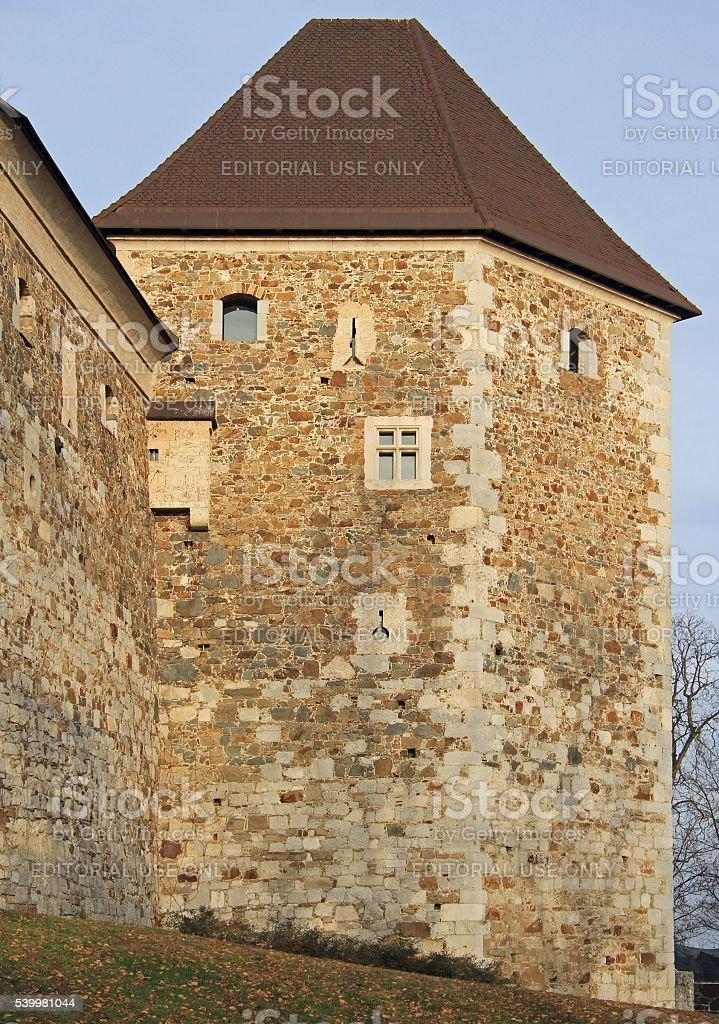 Lijubljana Castle in the capital of Slovenia stock photo