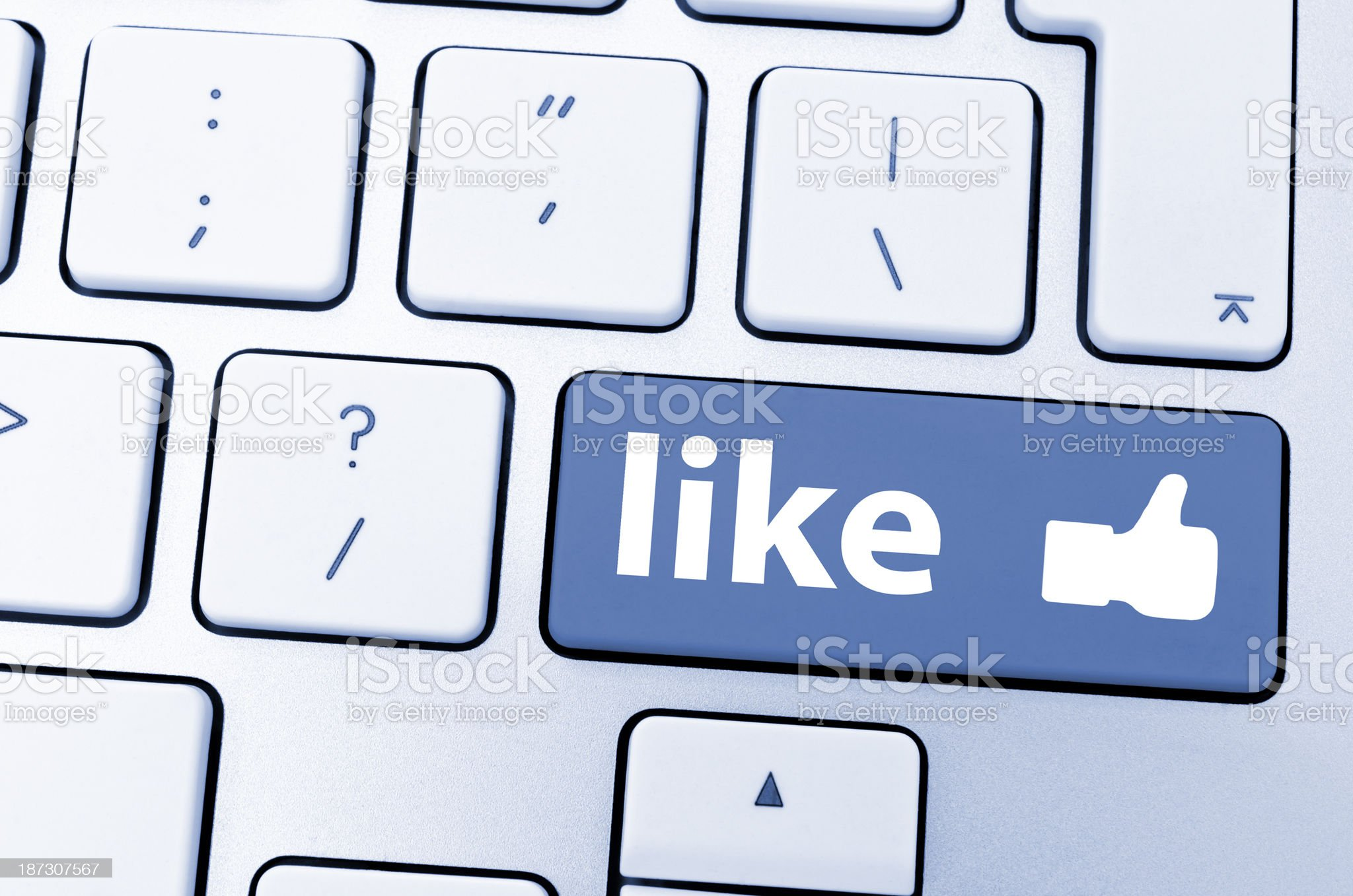 Like button on keyboard royalty-free stock photo