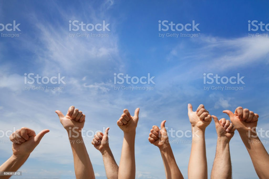 like concept, many hands showing thumb up or ok sign stock photo