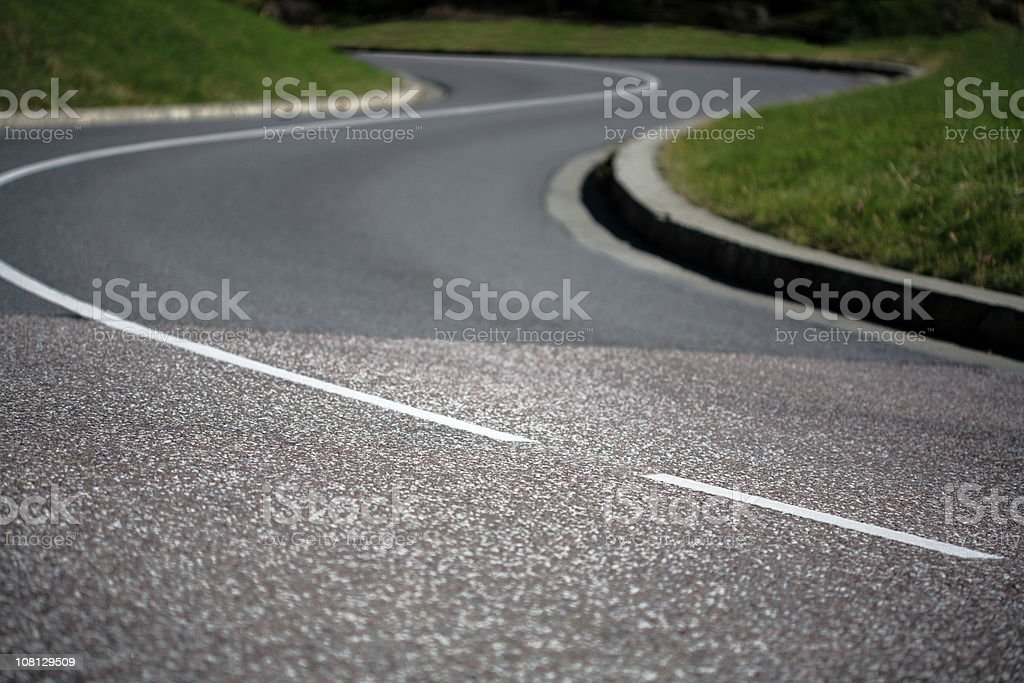 S Like Curve in Paved Road stock photo