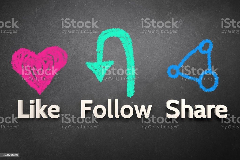 Like Follow and Share! stock photo