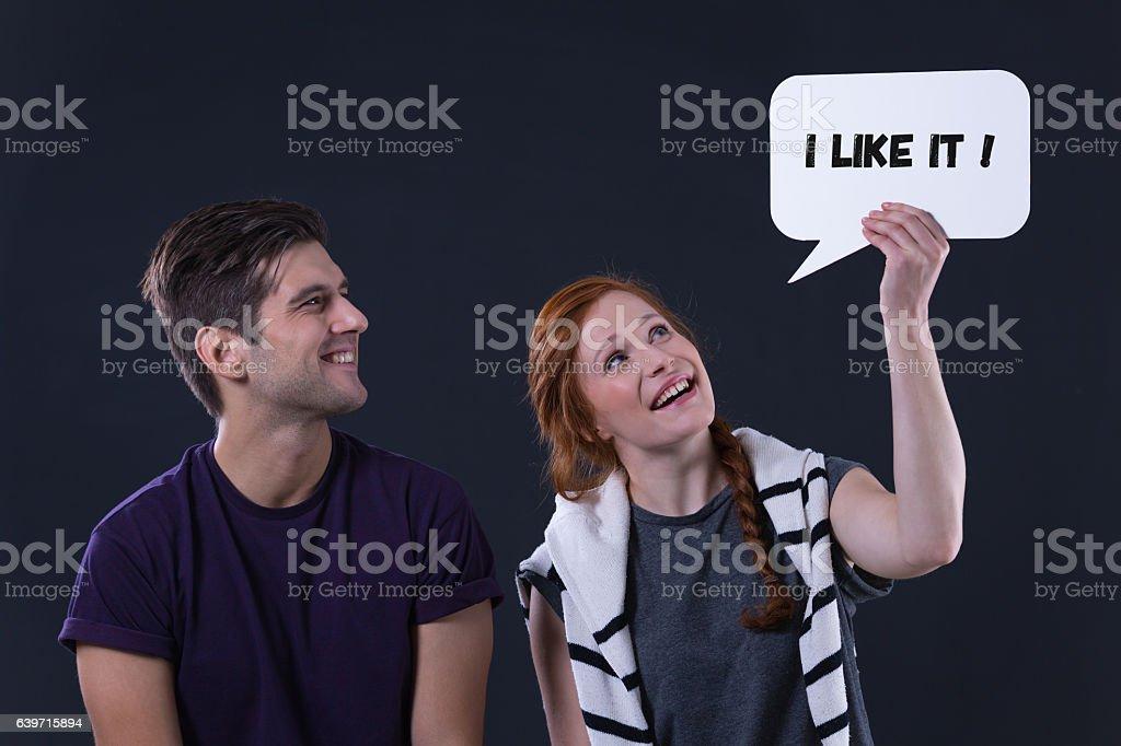 'I like it' speech bubble stock photo