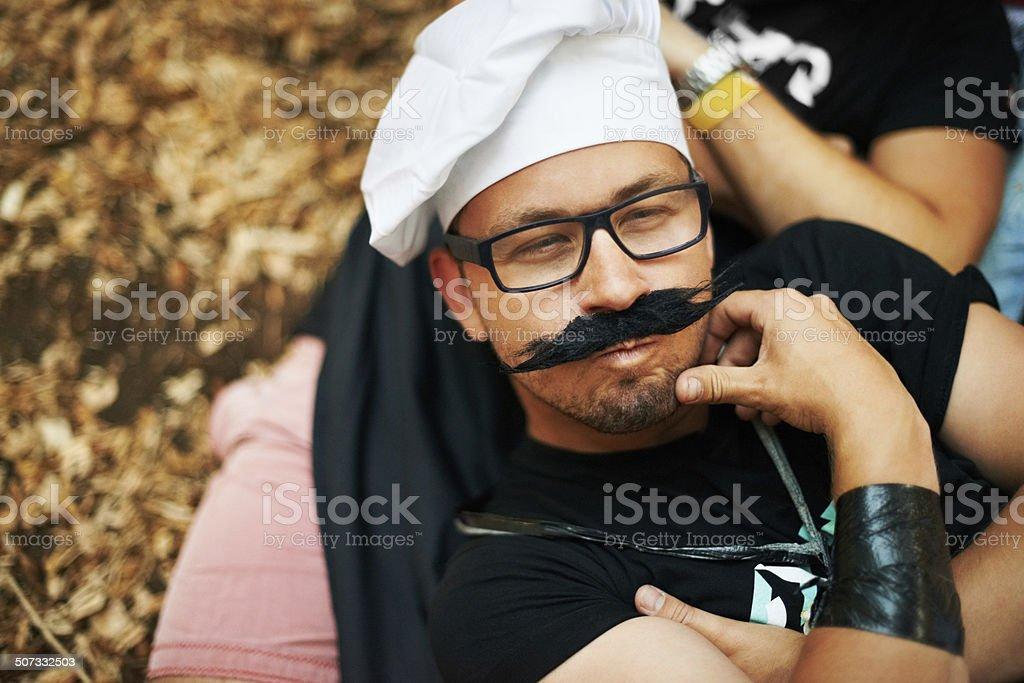 Like my new moustache? stock photo