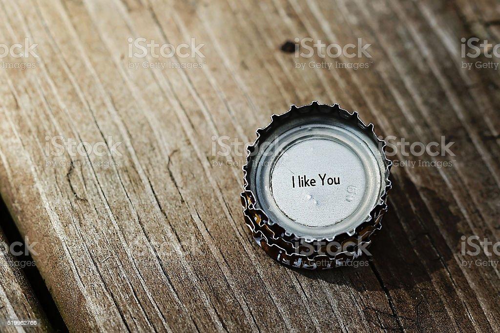 I like you bottle cap stack stock photo