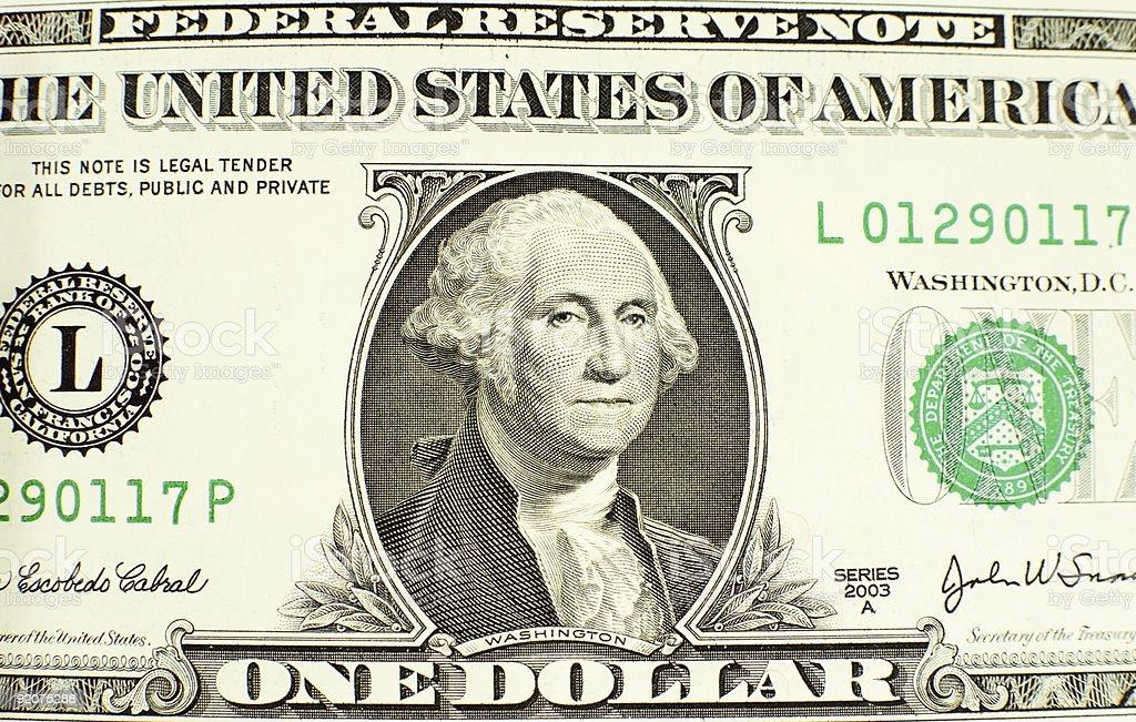 Likeness of George Washington on one dollar bill stock photo
