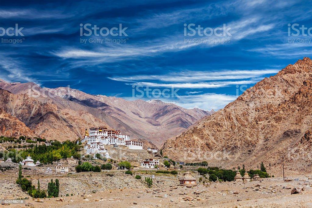 Likir Gompa Tibetan Buddhist monastery in Himalayas stock photo