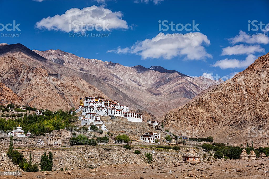 Likir Gompa Tibetan Buddhist monastery in Himalayas stock photo