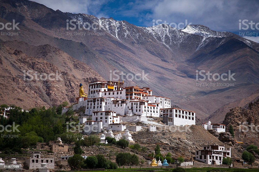 Likir monastery on the top of hill stock photo