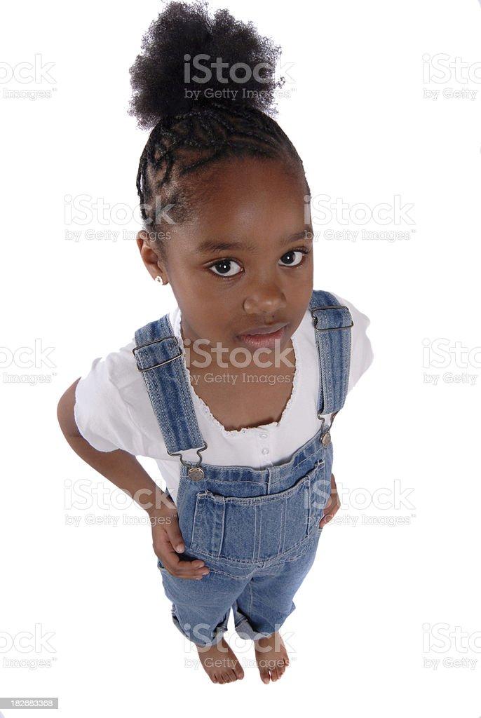 lil girl white background stock photo