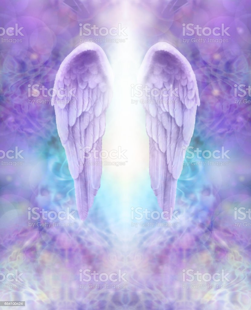 Lilac Angel Wings and Divine Light stock photo