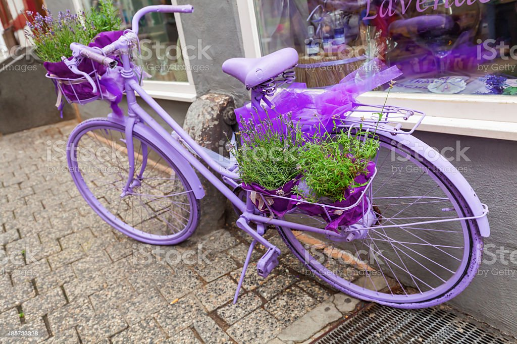 lilac bicycle stock photo