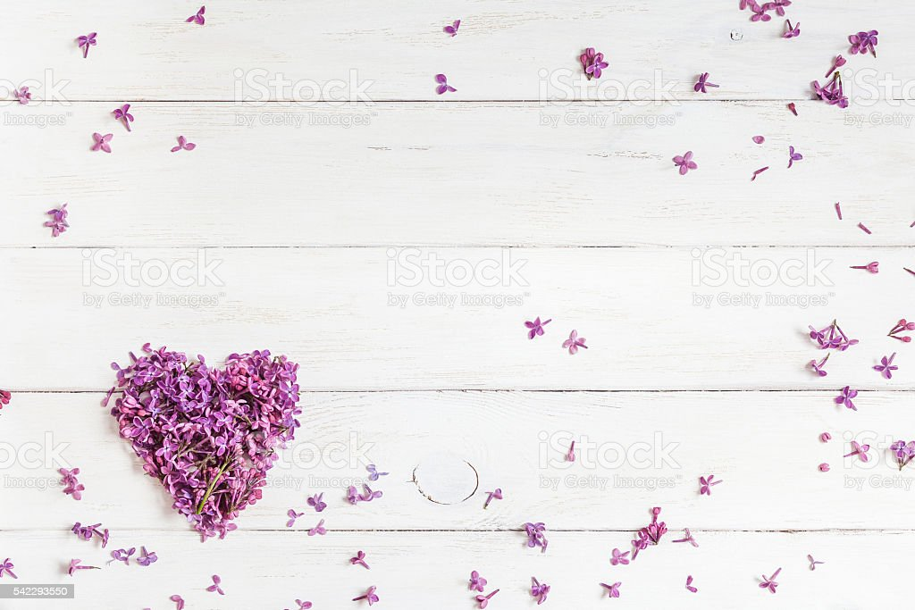 lilac flowers in the shape of heart on wooden background stock photo