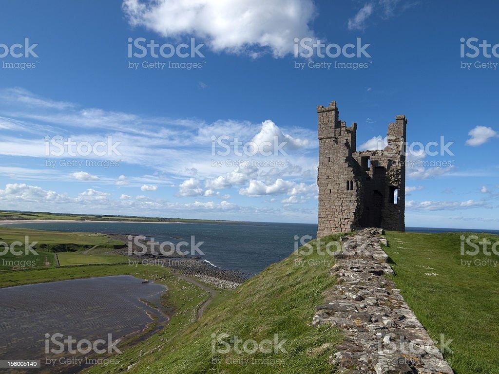 Liliburn Tower at Dunstanburgh Castle, Northumberland stock photo