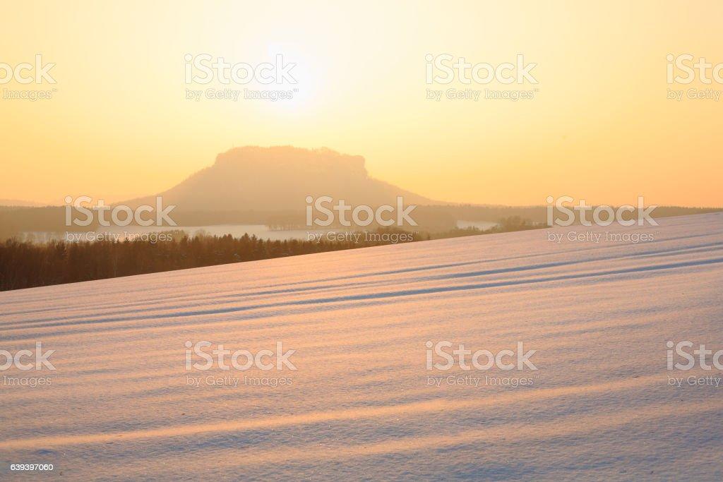 Lilienstein in Saxon Switzerland in winter at sunset stock photo