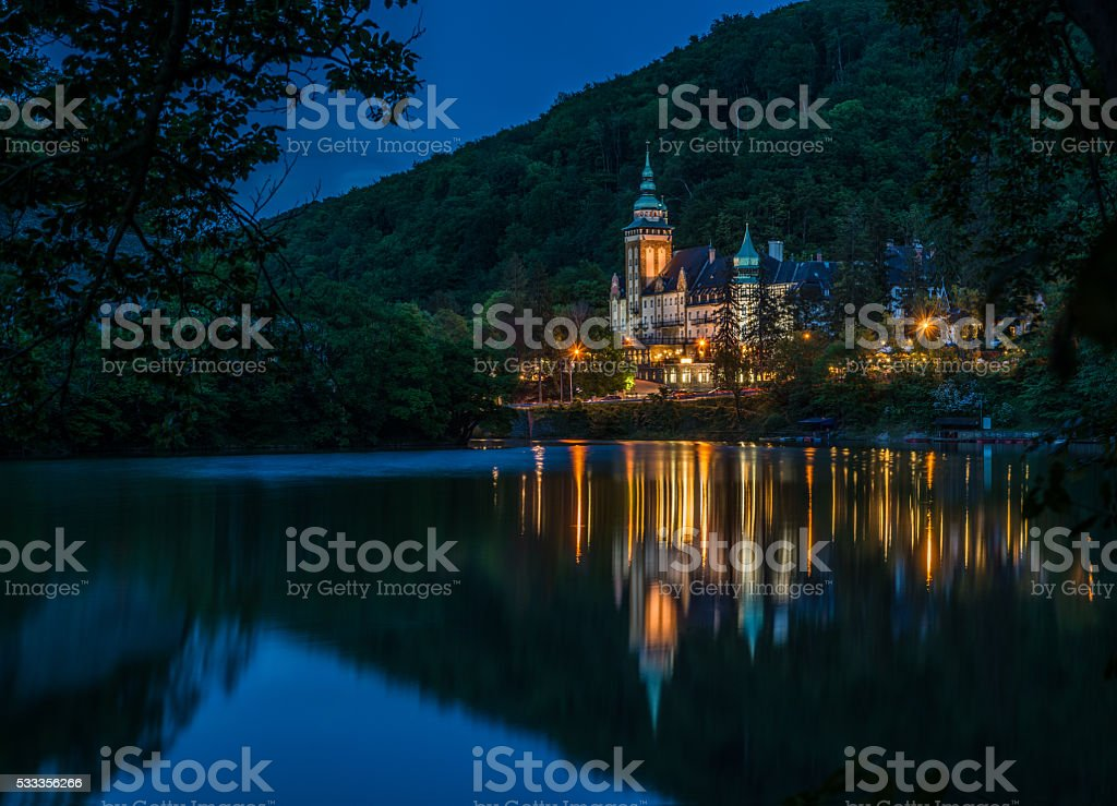 Lillafured palace night view stock photo