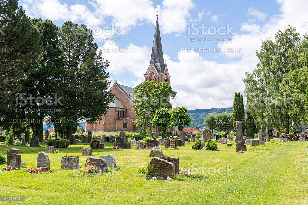 Lillehammer church. stock photo