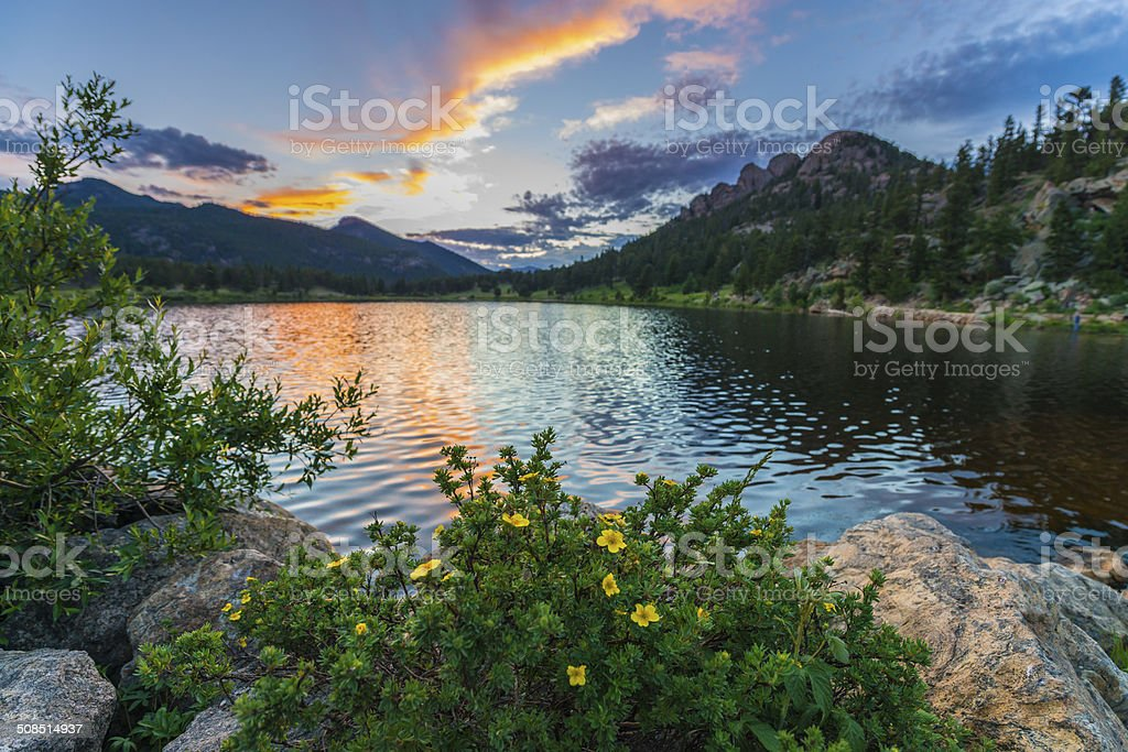 Lilly Lake at Sunset - Colorado stock photo