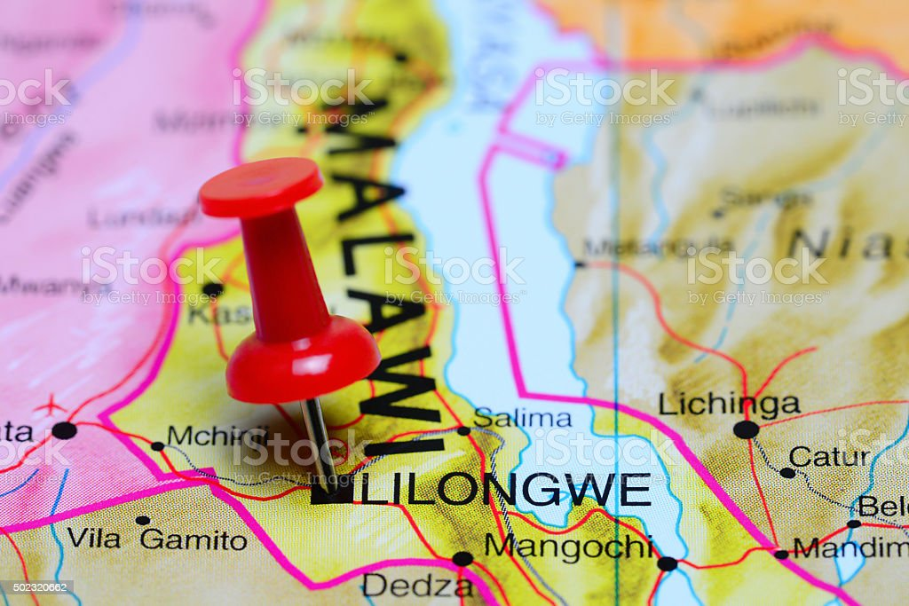 Lilongwe pinned on a map of Africa stock photo