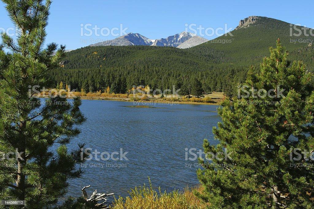Lily Lake and Longs Peak royalty-free stock photo