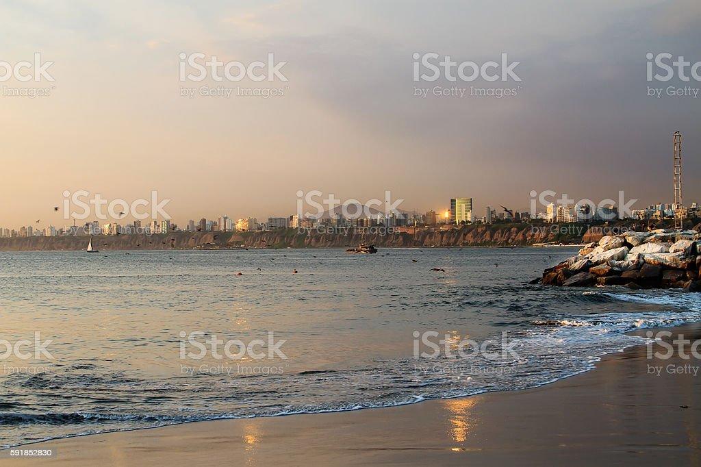 Lima coast stock photo