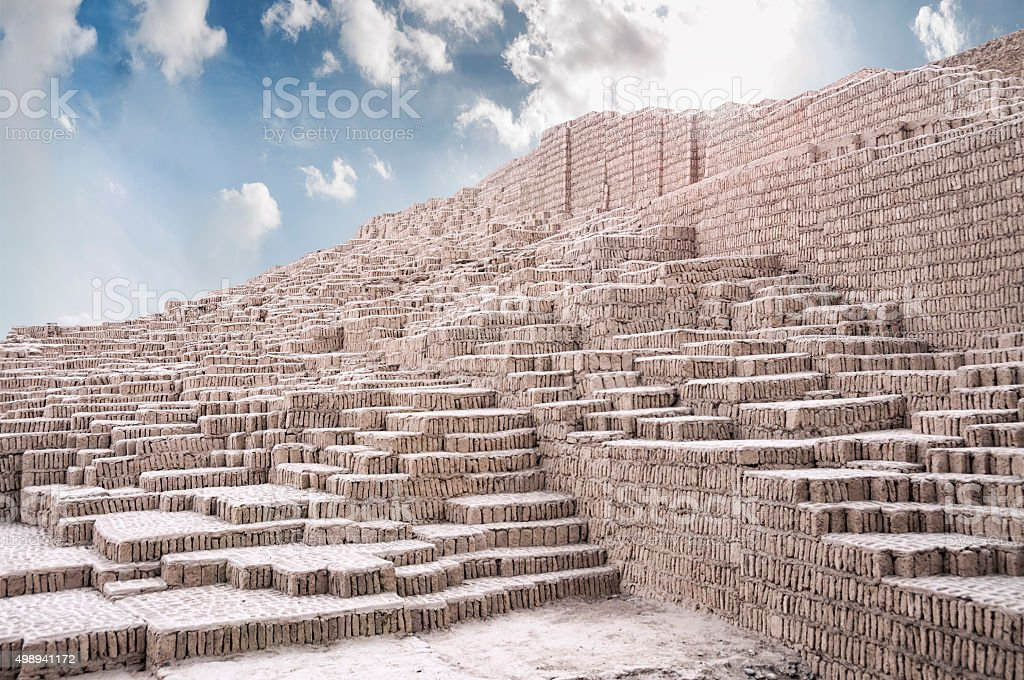 Lima Culture Ruins At Huaca Pucllana In Peru stock photo