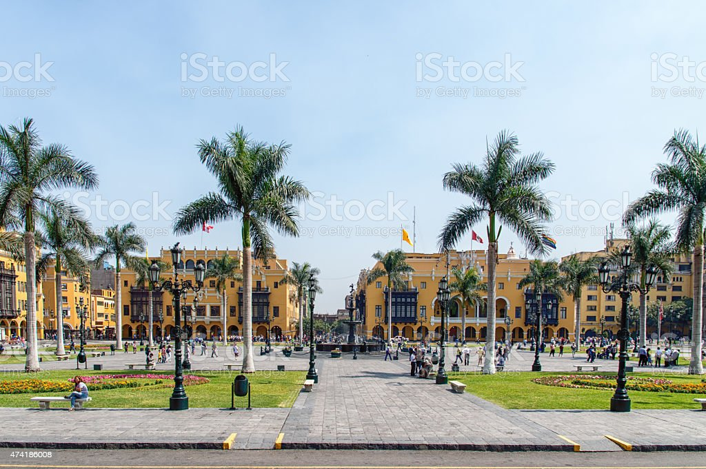 Lima main square stock photo