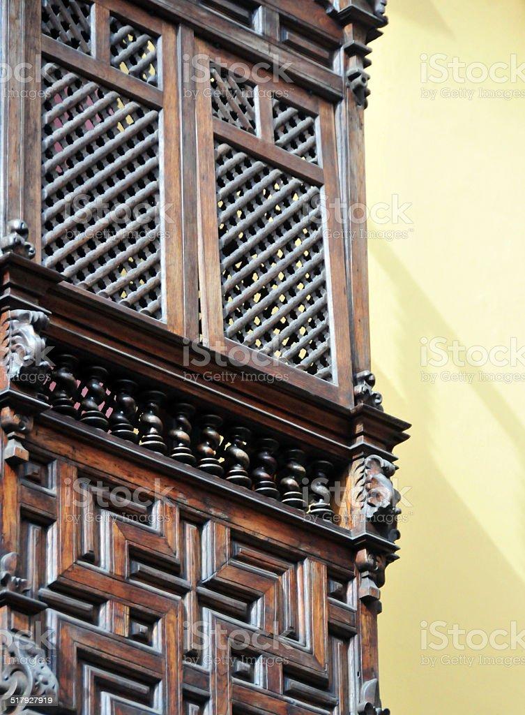 Lima, Peru: Moorish wooden balcony stock photo