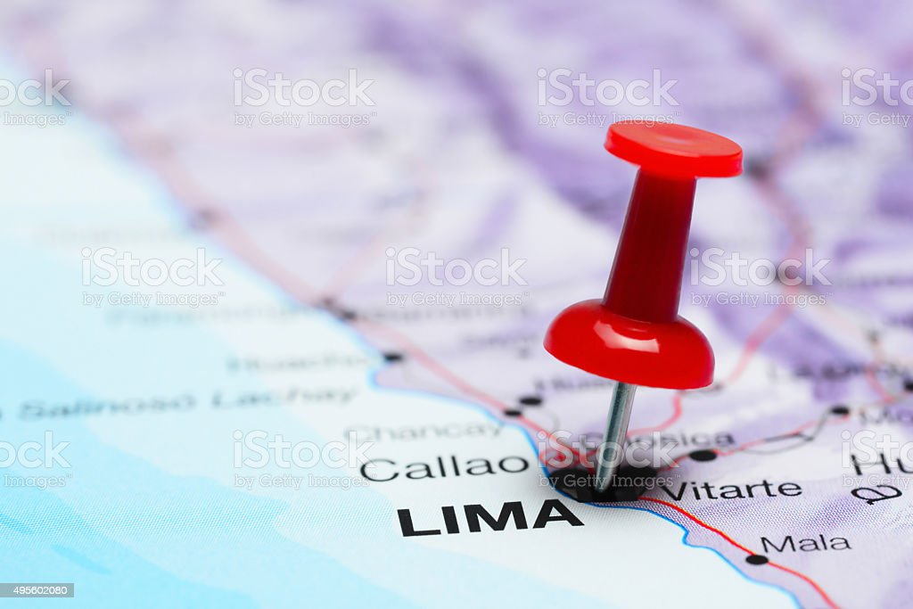 Lima pinned on a map of America stock photo