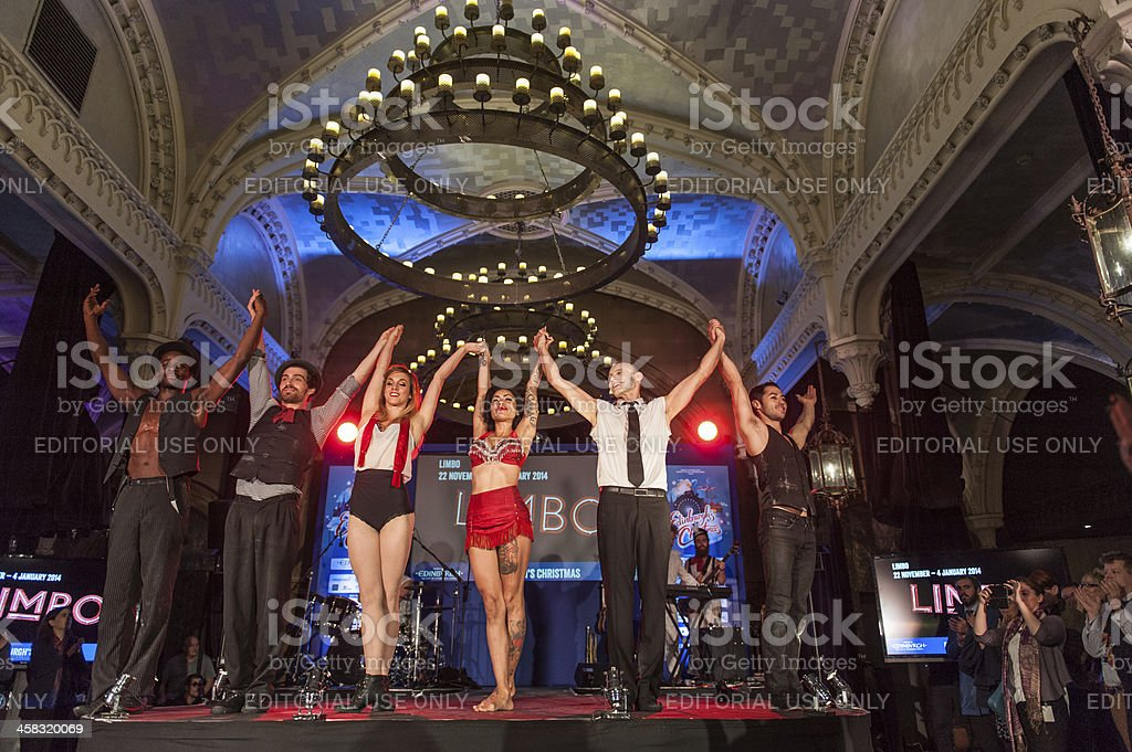 Limbo Performers' Greeting on Stage stock photo
