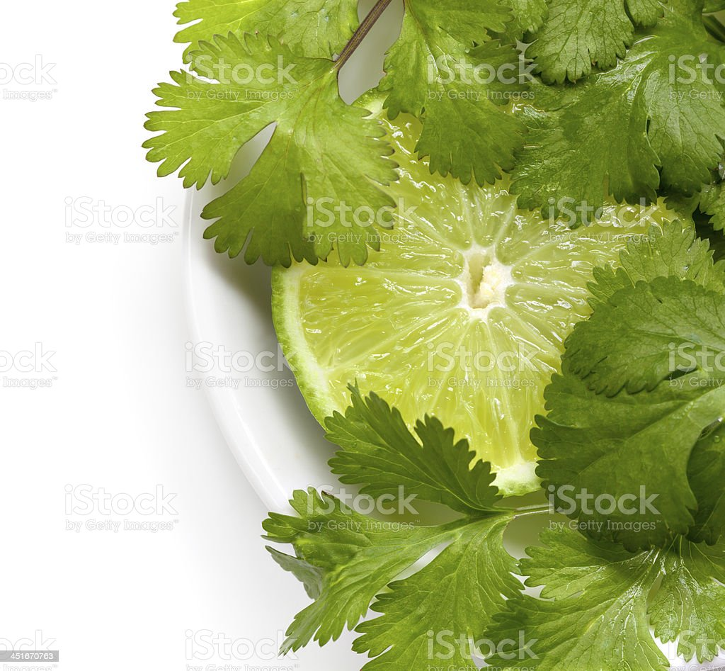 Lime and cilantro in a white bowl stock photo