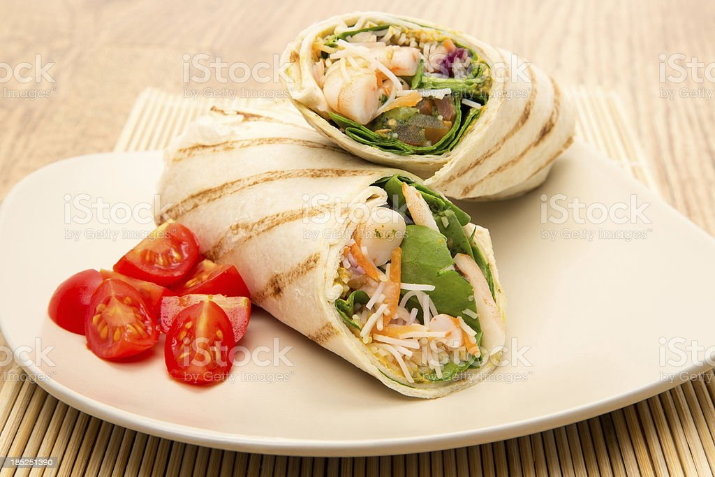 Lime and coriander prawn wrap sandwich royalty-free stock photo