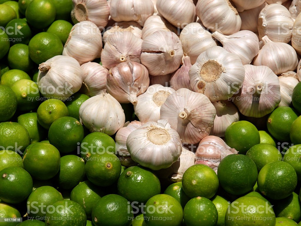 Lime and Garlic royalty-free stock photo