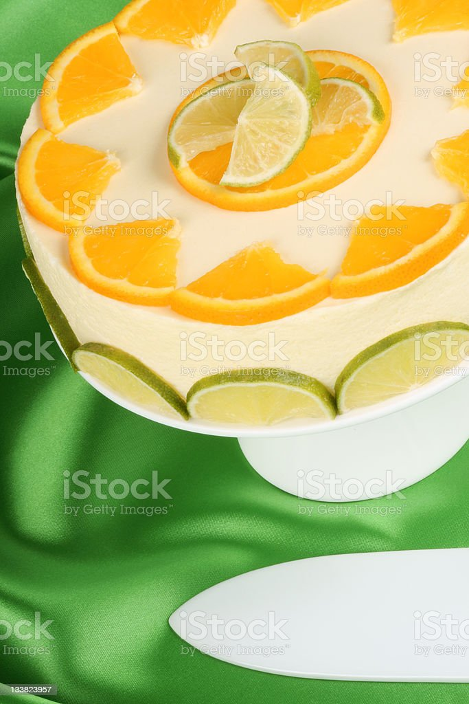 Lime and orange bavarian cream (bavarese) stock photo