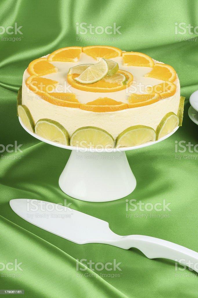 Lime and orange bavarian cream (bavarese) stock photo