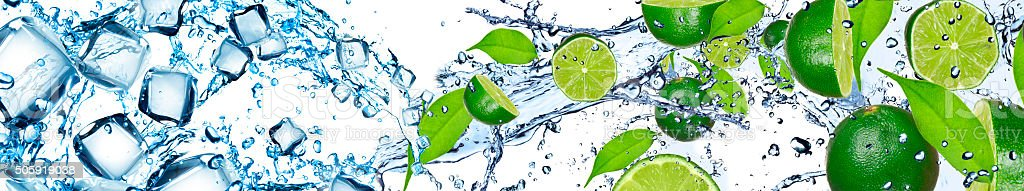 Lime and water stock photo