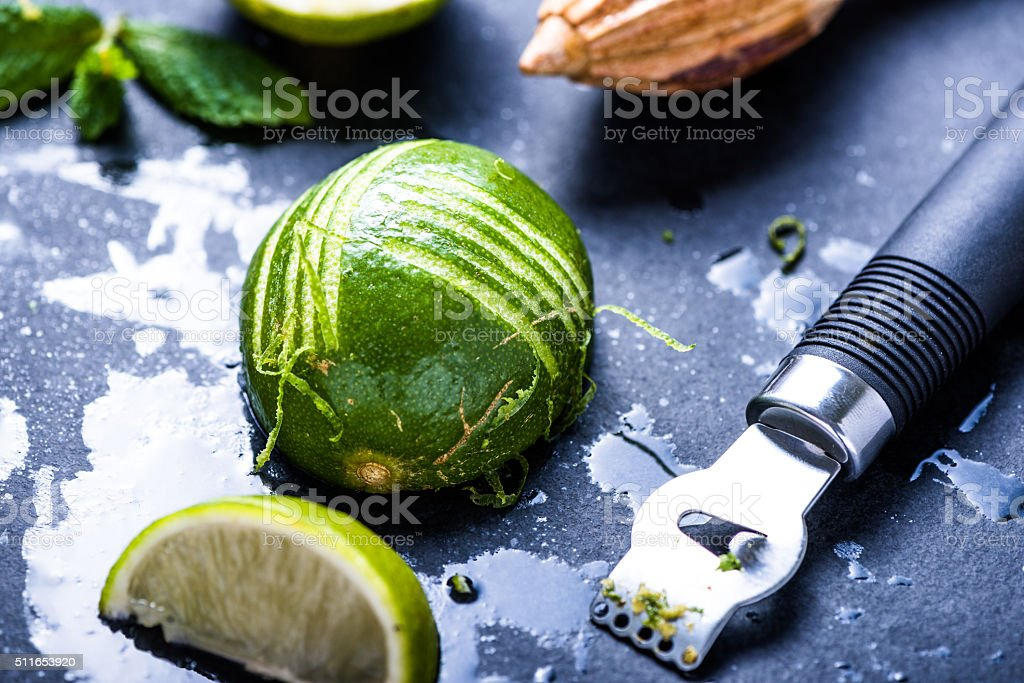 Lime and zest, natural refreshing ingredients and zest, natural stock photo