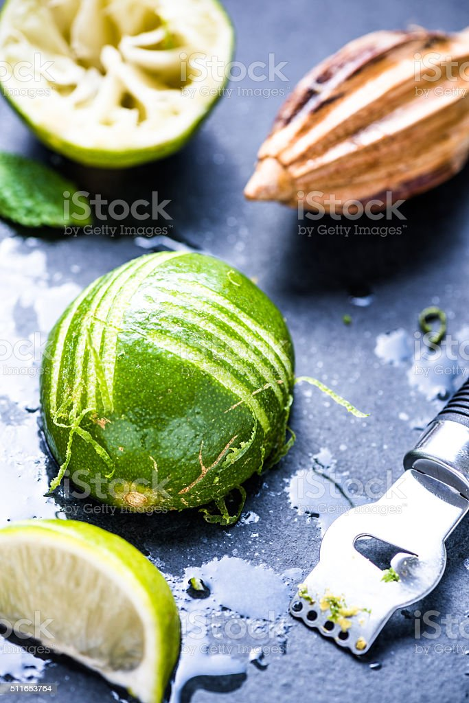 Lime and zest, natural refreshing ingredients stock photo
