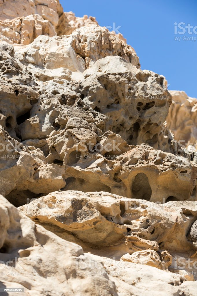 Lime coast near Ajuy village on Fuerteventura island in Spain stock photo