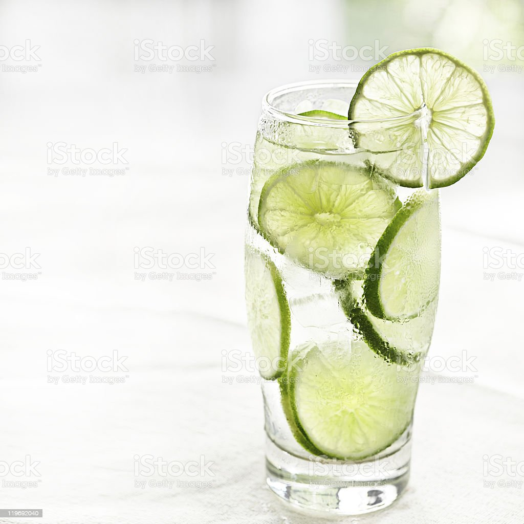 lime drink with ice and copyspace stock photo