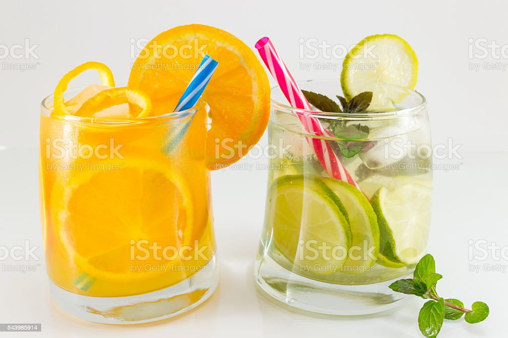 Lime fruit non alcoholic cocktails for summer refreshment stock photo