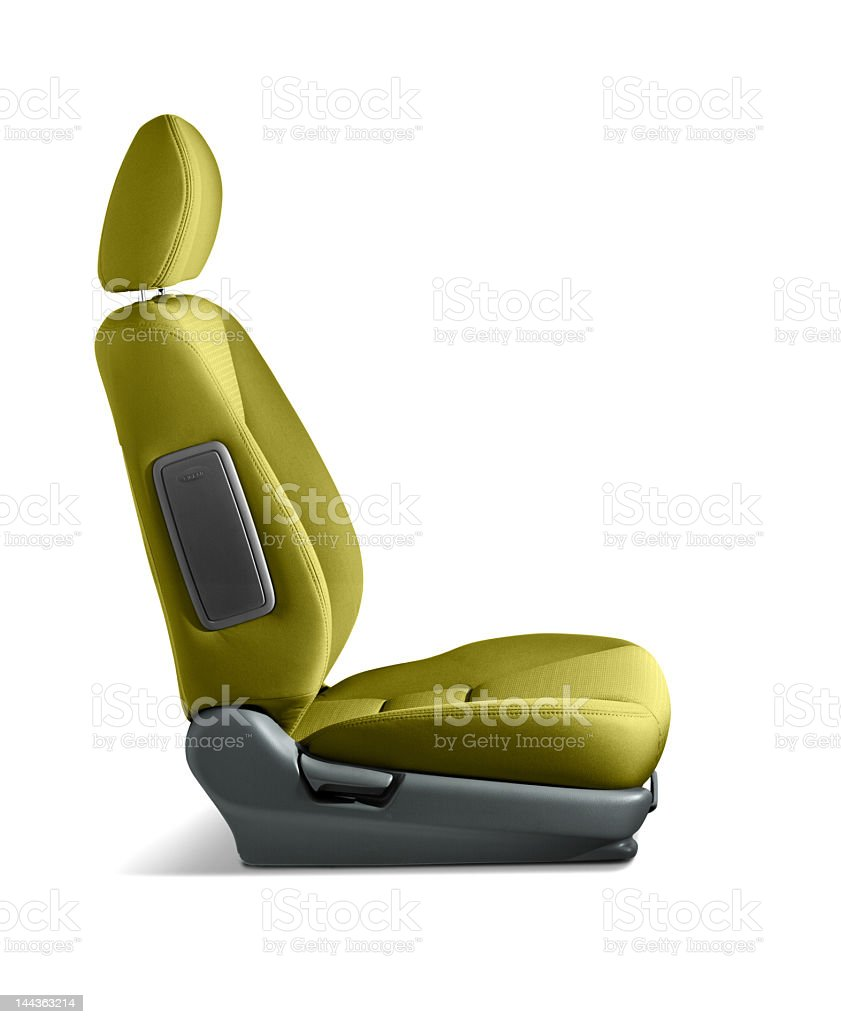 A lime green car seat on a white background royalty-free stock photo