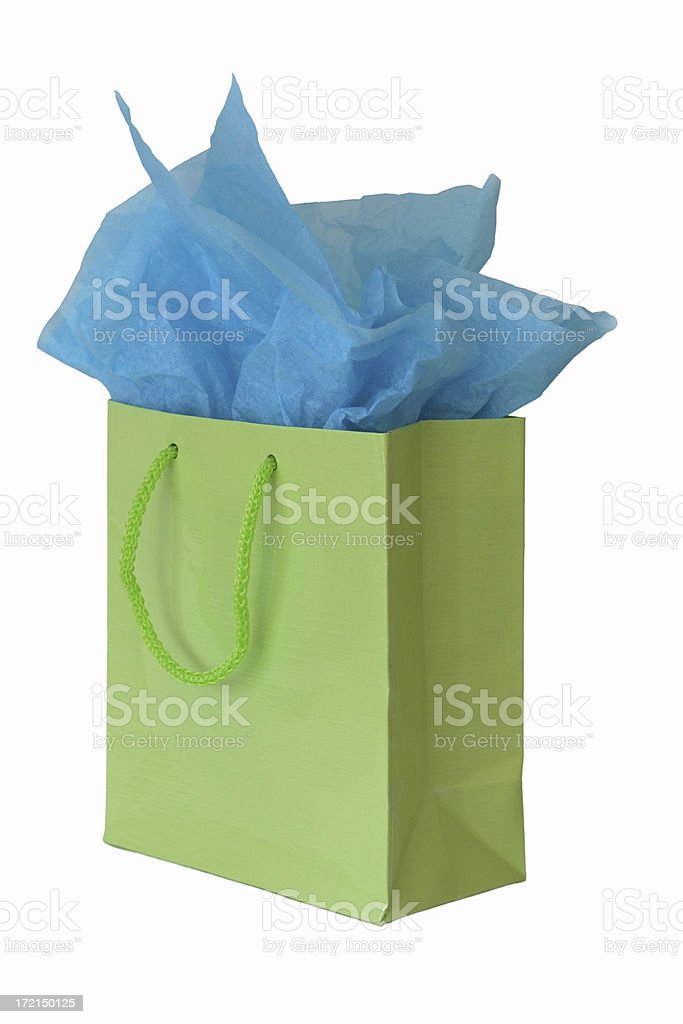 Lime green gift bag isolated stock photo